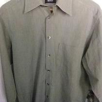 Hugo Boss L/s Mens Green Dress Shirt -Medium -Nice Photo