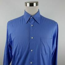 Hugo Boss Mens 2 Ply Cotton Ls Button Down Solid Blue Dress Shirt 16.5 36/37 Photo