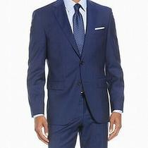 Hugo Boss Mens Blazer Blue Size 40 Stripe Print Two-Button Wool 395- 237 Photo
