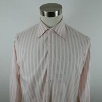 Hugo Boss Mens Cotton Ls Button Up Blush Pink White Striped Dress Shirt Size 16 Photo