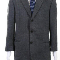 Hugo Boss Mens Houndstooth Notched Collar Three Button Blazer Gray Size 40 Photo