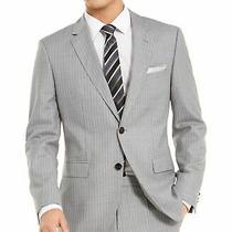 Hugo Boss Mens Sport Coat Gray Size 38 Slim Fit Stripe Print Wool 495 177 Photo