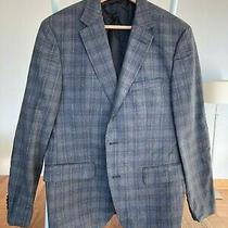 Hugo Boss Mens Sportcoat 38s Blue Gray Checked Suede Elbow Patches Photo
