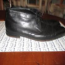 Hugo Boss Mens Sz 10 1/2 Black Leather 100% Lambskin Lining Ankle Boots Photo