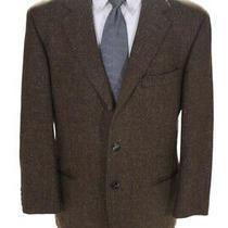 Hugo Boss Mens Textured Notched Collar Three Button Blazer Jacket Brown Size 40 Photo