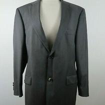 Hugo Boss Mens Virgin Wool Super 120 Ls 2 Button Gray Striped Blazer Jacket 44r Photo