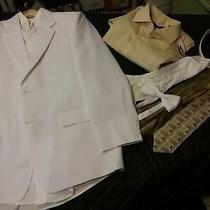 Hugo Boss White Suite Two Button Downs Ties 30-32' Socks and White Belt 42' Photo