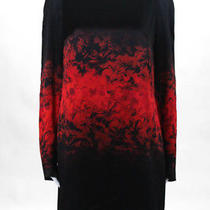 Hugo Hugo Boss Womens Dress Size 8 Black Red Floral Long Sleeve Above Knee Silk Photo