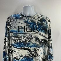 Huk Performance Fishing Hydro Mossy Oak Element Long Sleeve Shirt Large Blue Photo