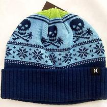Hurley 25 Mens Donner Beanie Hat W/cuff Skulls & Snowflakes Blue 1 Size Photo