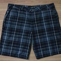 Hurley Black/gray/blue Check Flat Front Shorts Men's 38 Great Photo