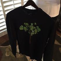 Hurley Black With Tree Design Men's Sweater 100% Cotton Sz Large Photo