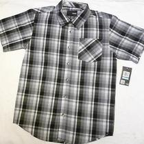 Hurley Boy's Button Down Plaid Woven Short Sleeve Shirt Black Xl Photo