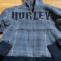 Hurley Boys Sz 5/6 (Xs) Gray Plaid Logo Cotton-Blend Hoodie Sweater Photo