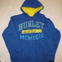 Hurley Boys Med 12 14 Royal Blue Logo Zip Front Sweatshirt Hoodie New 52 Photo