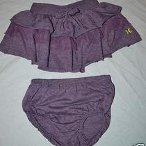 Hurley Girls Size 6 Months 2 Piece Purple Ruffle Skirt With Diaper Cover Euc Sfx Photo
