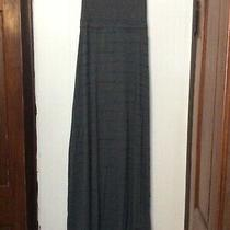 Hurley Gray Knit Teal Stripe Strapless Dress Long Maxi Sheer Inserts Size M Photo