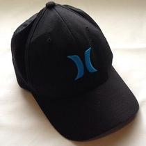 Hurley Hat Cap Adult L - Xl Black Blue Flex Fit Fitted Photo
