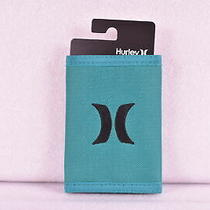 Hurley Honor Roll Tri - Fold Wallet W/ Centered Logo Teal Green & Black Photo