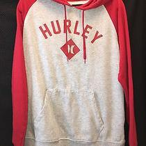Hurley Hooded Sweatshirt Rbi Fleece Grey & Red Mens Size Large Photo