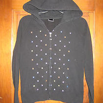Hurley Hoodie Sweater Size Small Black With Colorful Logo Pattern Zips Up Pocket Photo