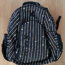 Hurley Laptop Backpack - Holds Two Laptops - Black White Gray Pinstripe Photo
