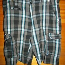Hurley Men Bermuda Walking Golfing Shorts Size 38 Black/brown/gray Plaid Guc Photo