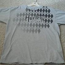 Hurley Men Solid Grey W/black Graphic Short Sleeve Cotton Blend T-Shirt Size Xl  Photo