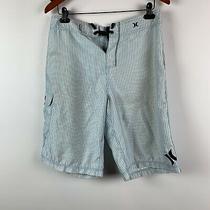 Hurley Mens 32 X 11.5 Board Shorts Drawstring Stretch Light Blue Striped Flaw Photo