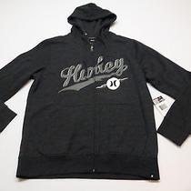 Hurley Mens Size Medium Bolted Gray Full Zip Hoodie Sweatshirt New Photo