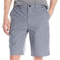 Hurley New Graphite Gray Mens Size 32 Windowpane Print Chino Shorts 50 134 Photo