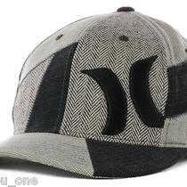 Hurley One Only Smith Flex Gray Black Surf Skate Art Hat Cap Herringbone Fashion Photo