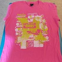 Hurley Pink Ex-Bf Mix Tape Junior Size Large 100% Cotton T-Shirt Photo