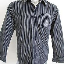 Hurley Pinstripe Men's 100% Cotton Long Sleeve Button Down Shirt Black S Photo