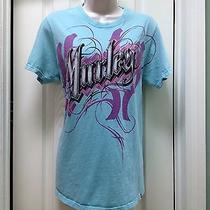 Hurley Premium Fit Wonens/juniors Light Blue Logo Graphics Medium Tee T Shirt Photo