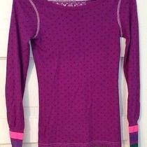 Hurley Purple Waffle Knit Thermal W/ Bright Banded Wrists & Hurley Logo Wmn's M Photo
