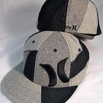 Hurley Smith Fl 09 Gray/black Logo/plaid Flat Brim Flexfit Hat Cap New Sz S/m Photo