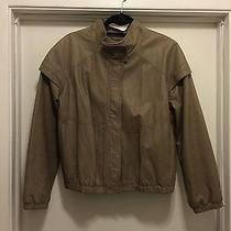 Hurley Taupe (Brown) Leather Bomber Jacket (Size l) Photo