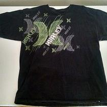 Hurley )( Tee Shirt Large Black With Green Graphics Photo