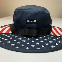 Hurley Vagabond Patriot Boonie Sun Hat Size S/m Usa Flag Floppy Hat Surf Beach Photo