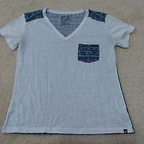 Hurley White Water-Color v-Neck Tee Size Small Photo