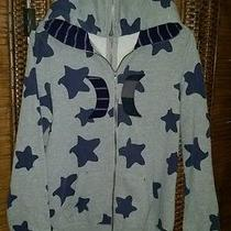 Hurley Women's Large Full Zip Apart Gray Hoodie With Stars Euc Smile/cry Hoodie Photo
