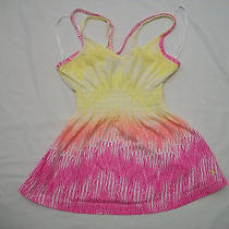 Hurley Women's Pink & Yellow Spaghetti Top - Size Xs Photo