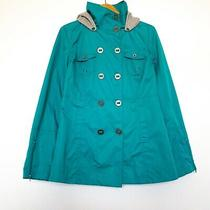 Hurley Women Size M Coat Jacket Hoodie Tiffany Blue Light Button Front Euc Photo