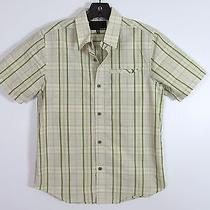 Hurley Youth Boys Light Green Plaid Check Button Down Short Sleeve Shirt Size M Photo