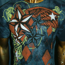 Hybrid Blue Stars Wings Tattoo Fight Biker Bike Ufc Express Famous T-Shirt Men M Photo