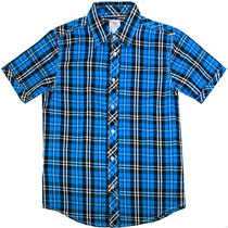 I-Fe Apparel Plaid S/s 21229-Aqua Mens Casual Button Down Shirts Blue Size L Photo