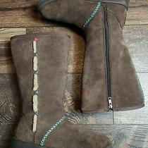 I Heart Ugg by Ugg Australia Tall Suede Brown Zip Boots Womens Size 8 Photo