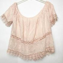 I Jeans by Buffalo Blush Pink Off Shoulders Crop Top Lace Crochet Sheer Photo