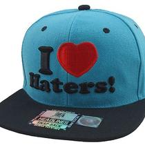 I Love Haters 3d Vintage Style Flat Bill Snap Back Cap Hat Aqua/black Photo
